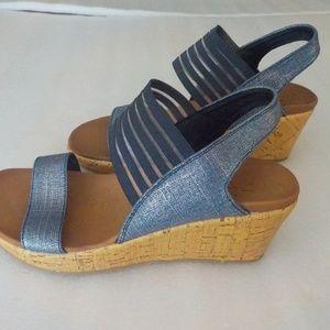 Skechers Silver-Blue Platform Luxe Foam Shoes